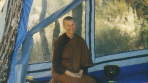 Ayya Vayama in tent dhammasara