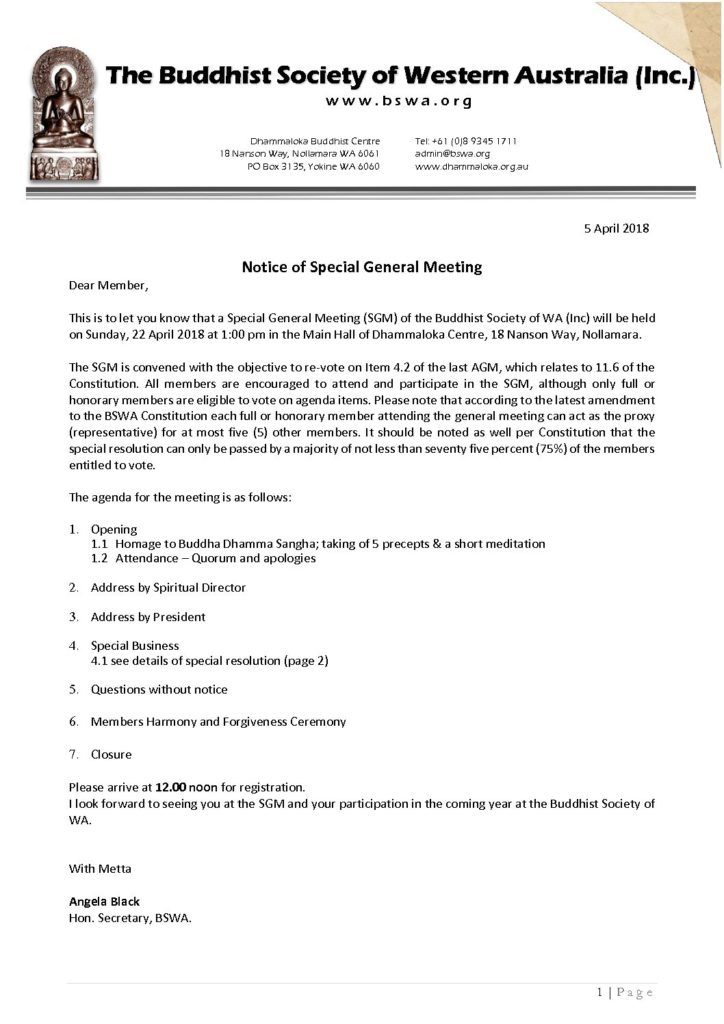 Notice of Special General Meeting – BSWA – 22 Apr 2018