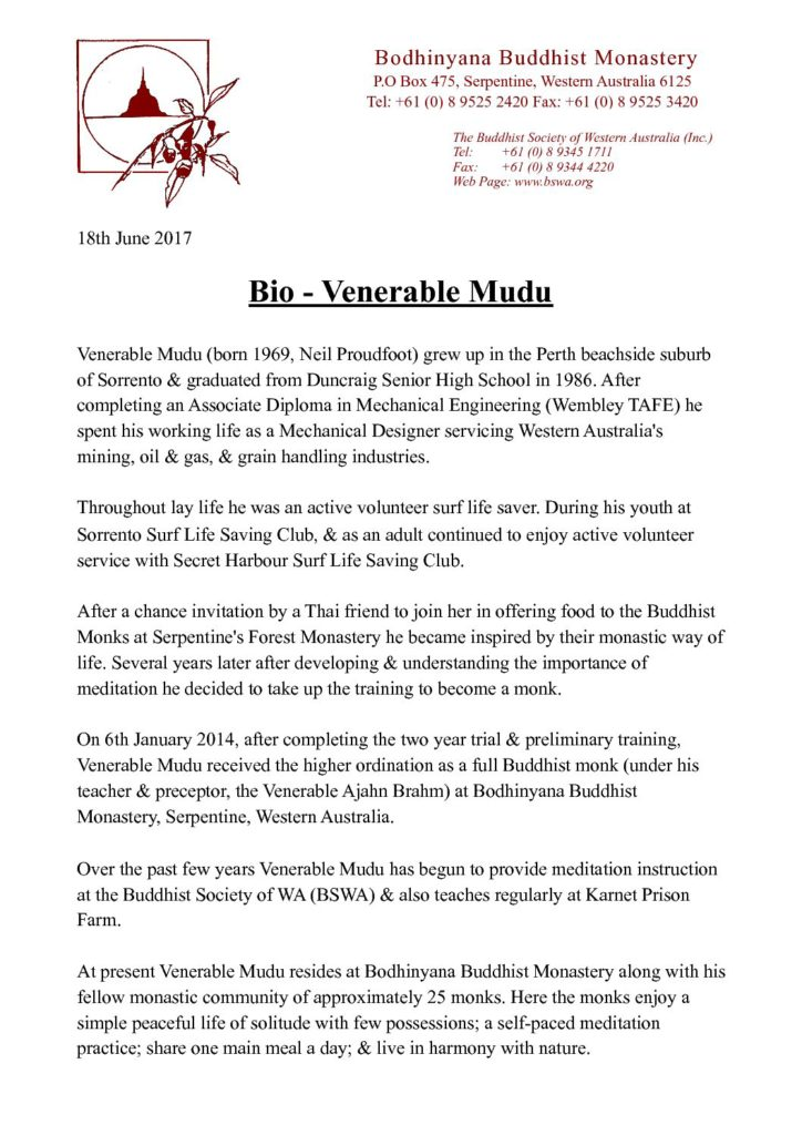 Venerable Mudu – bio