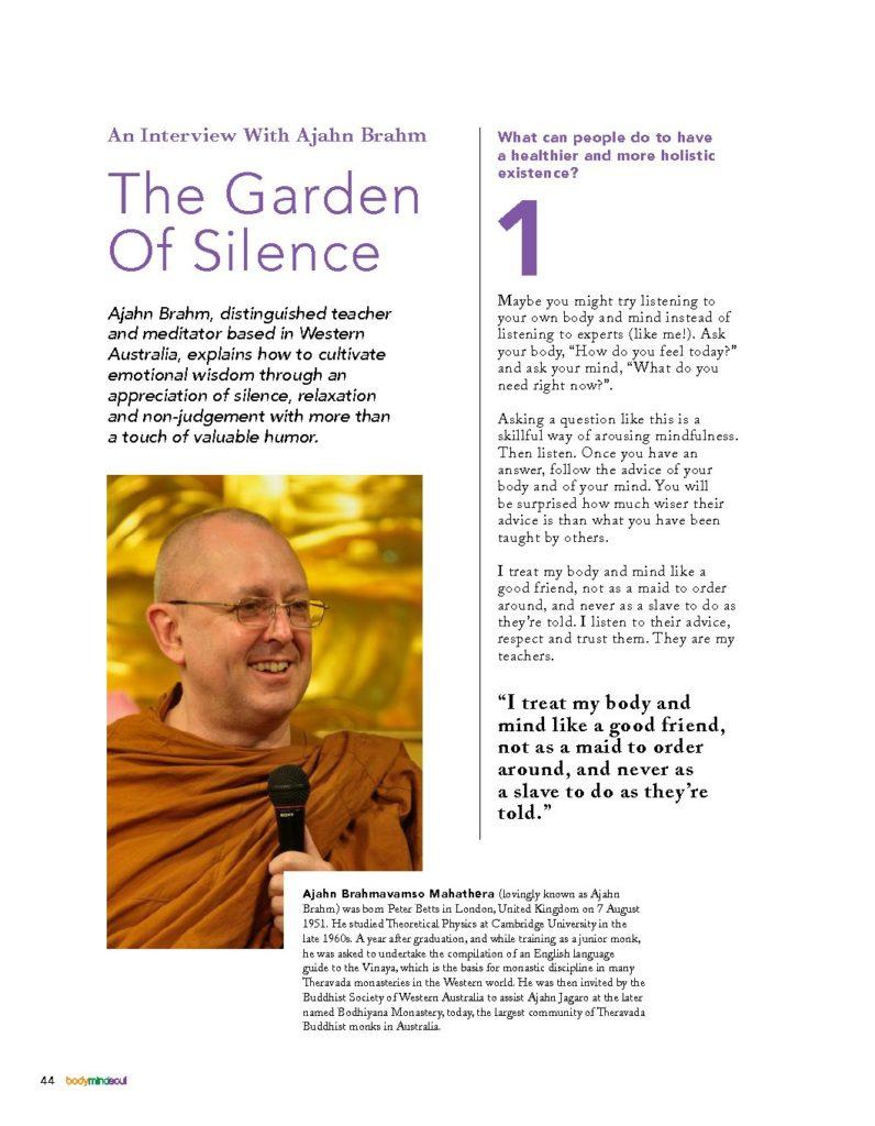 bodymindsoul Vol.16 – Ajahn Brahm Article Extract