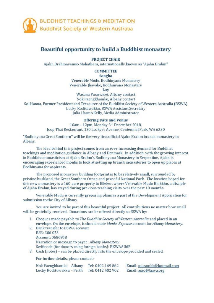 Bodhinyana Great Southern Monastery Donation Flyer 2018