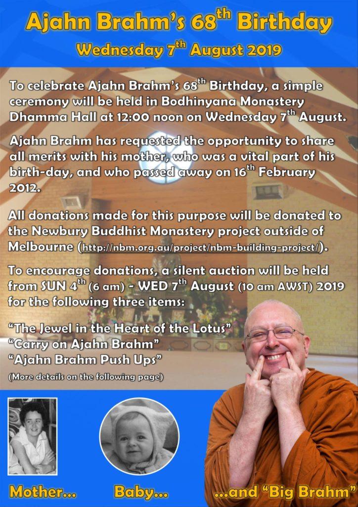 Ajahn Brahm's 68th Birthday Poster 01