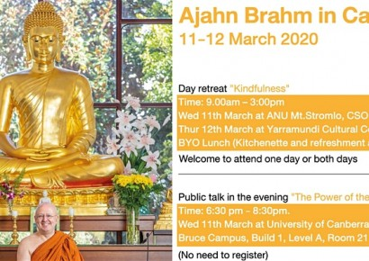 Ajahn Brahm in Canberra 11-12 March 2020