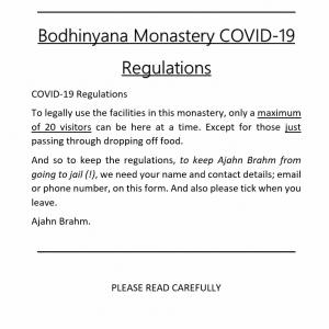 Bodhinyana Monastery COVID-19 Regulations