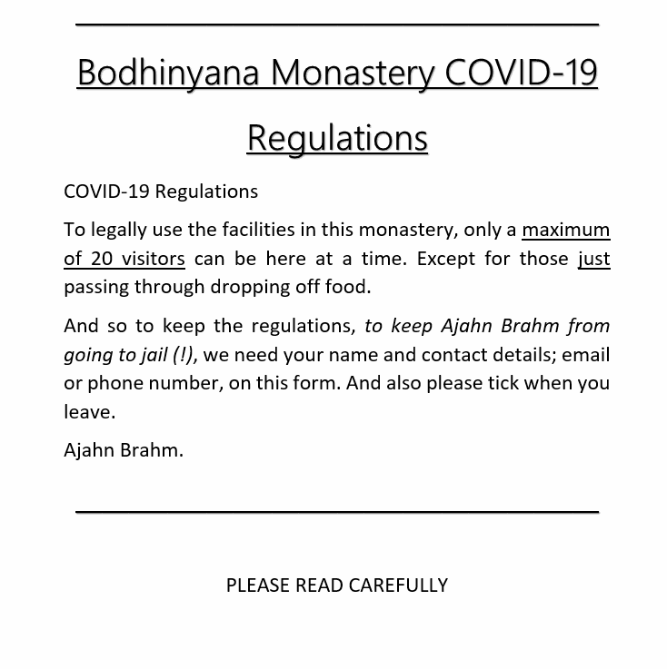 Bodhinyana Monastery COVID-19 Regulations