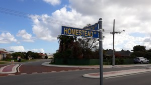 Signpost for Homestead Rd
